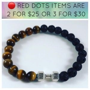 🔴Men / women Tiger eye lava rock barbell bracelet